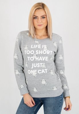 Bluza Diamante Wear Life Is Too Short, Cat szara