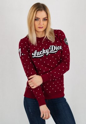 Bluza Lucky Dice Dot Babe bordowa