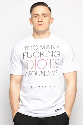 T-shirt Diamante Wear Fucking Idiots biały