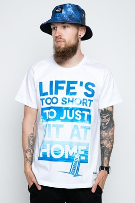 T-shirt Diamante Wear Life's Too Short biały