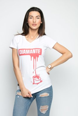 T-shirt Diamante Wear V-Neck Paint Red biały