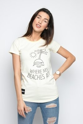 T-shirt Diamante Wear Where My Beaches At? żółty