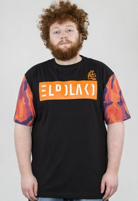 T-shirt El Polako Orange Camo czarny