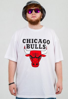 T-shirt Mitchell & Ness NBA Logo Chicago Bulls biały