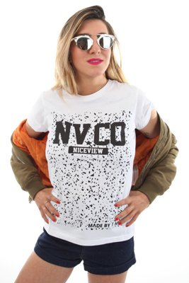 T-shirt Nice View Brand NV CO Splash biały