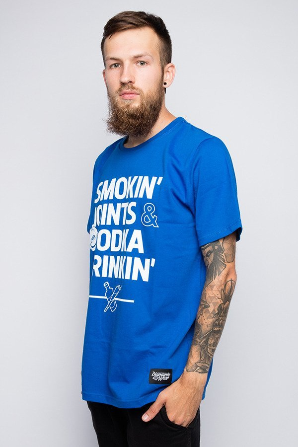 T-shirt Diamante Wear Smoking Joints & Vodka Drinkin niebieski