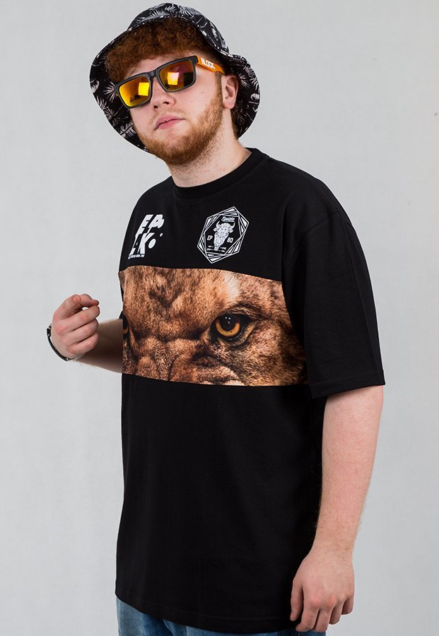 T-shirt El Polako Wild Eyes Lion czarny