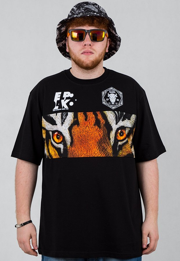 T-shirt El Polako Wild Eyes Tiger czarny