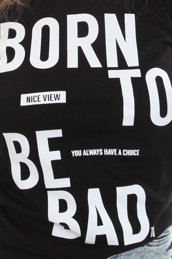 T-shirt Nice View Brand Born To Be czarny