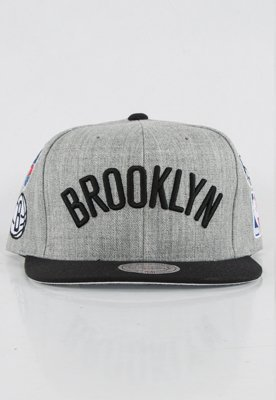Snap Mitchell & Ness NBA Logo History Brooklyn Nets szary