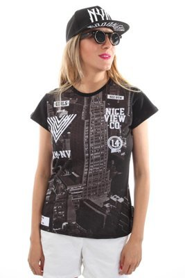 T-shirt Nice View Brand City czarny